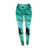 "Robin Dickinson ""Smitten"" Blue Teal Yoga Leggings"
