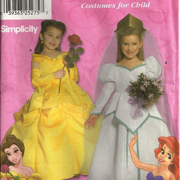 Simplicity 9902 Disney Princess Sewing Pattern Discontinued Belle  Ariel Girls Dress Gown Halloween Costume Uncut Sizes 3 to 8