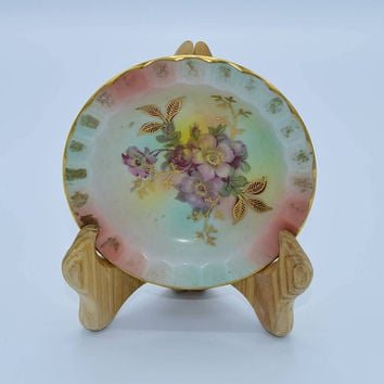 Arzberg Bavaria Schumaan Ashtray Vintage German Porcelain Ashtray Gilded Floral Trinket Tray Bavarian Dish Ladies Ashtray Tobacciana
