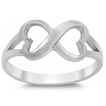 Solid Heart Infinity 925 Sterling Silver Ring Sizes 312