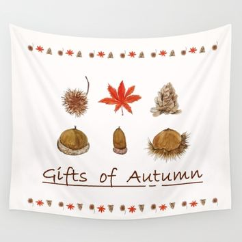 Gift of autumn watercolor painting  Wall Tapestry by Color and Color
