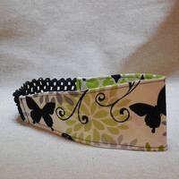 Green, Black and White Butterfly Headband