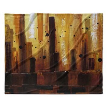 "Steven Dix ""Falling Embers"" Orange Black Painting Fleece Throw Blanket"