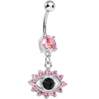 Pink Gem Blinged Out Eye Dangle Belly Ring | Body Candy Body Jewelry