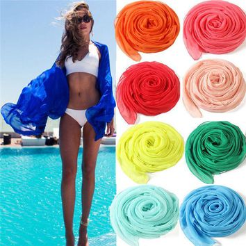 ONETOW Women New Sexy Chiffon Summer Swimwear Beach Cover Up Pareo Sarongs Bikini Scarf Tunic New Korea Scarves