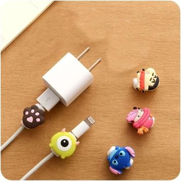 Cute Kawaii Lovely Cartoon Cable Protector Pretty USB Cable Winder Cover Case Shell For IPhone 5 5s 6 6s 7 7s plus cable Protect