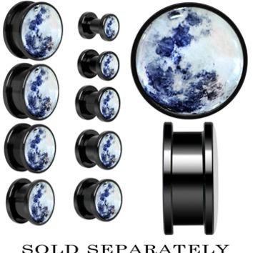 Moon Mother of Pearl Screw Fit Plug in Anodized Black Titanium | Body Candy Body Jewelry