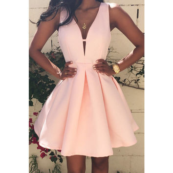 2016 Summer Sexy Women Dress Deep V-Neck Backless Sleeveless Pink Dresses Club Evening Party Ladies A-line Mini Dress Plus size