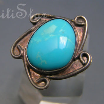 Large Vintage Navajo Southwestern Style Turquoise  sterling silver Ring