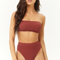Puckered High-Waist Bikini Bottoms