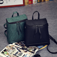 Vintage Style Square Leather Backpack