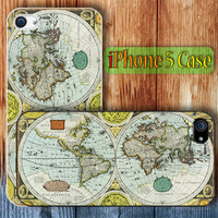 Vintage World Map 1626  the longoodbye Custom iPhone 5 Case Cover