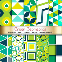Geometric Digital Paper: Green Geometrics 12x12 Scrapbooking Papers - Craft Supplies Papercrafting - Instant Download Printable