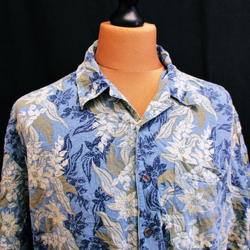 Vintage 90s Hawaiian Shirt Walmart Floral Holiday Beach Medium