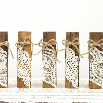 Wood Clothespins Table Number Holders with Vintage Lace and Twine - Set of 5