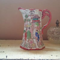 Kutani  Antique Hand Painted Coffee Pot Pitcher Geisha Girl Design