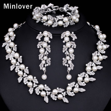 Minlover Silver Color Imitated Pearl and Crystal Necklace Earring Bracelet Set for Women Wedding Jewellery TL283+SL089