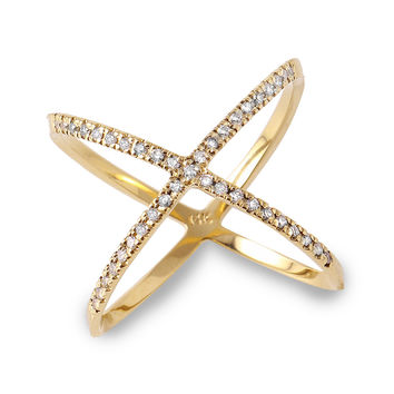 Diamond X Ring, 14K Yellow Gold, Stone & Novelty Rings