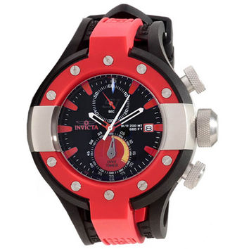 Invicta 13062 Men's S1 Rally Red Bezel Black Dial Rubber Strap Chronograph Dive Watch