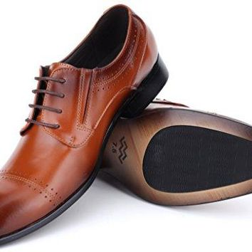 Mio Marino Mens Shoes, Oxford Dress Shoes, Genuine Leather in a Shoe Bag