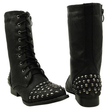Womens Mid Calf Boots Spiked Toe and Heel Combat Casual Comfort Shoes Black SZ