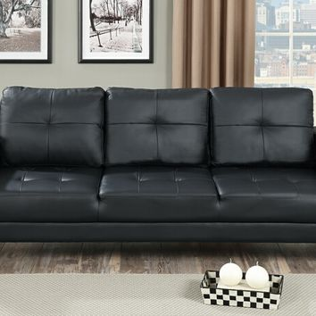 Nathaniel III collection black faux leather upholstered futon sofa bed with arms