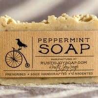Peppermint Soap - Rustic Soap,All Natural Soap,Handmade Soap,Fragrance Free Soap,decoction of mint.