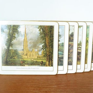 Six cork backed John Constable RA placemats featuring scenes of English landscapes