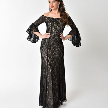 Black Lace Off Shoulder Sleeved Sexy Long Dress