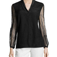Orly Long-Sleeve Lace Blouse, Black, Size: