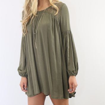 The Fairfield Olive Pleated Peasant Dress With Peephole Back