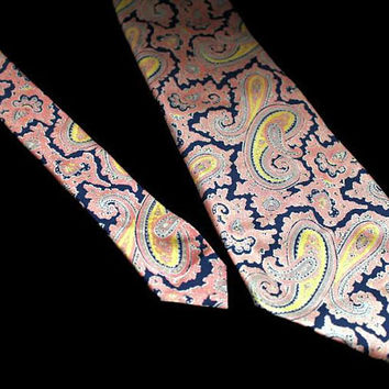 Christian Dior Wide All Silk Paisley Necktie Vintage Designer Men's Tie