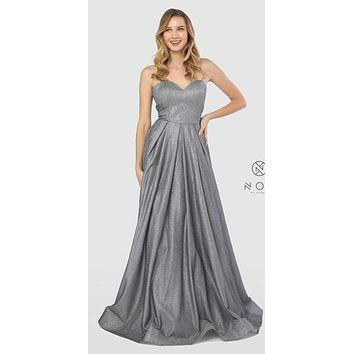 Sweetheart Neck Metallic Strapless Long Prom Gown Charcoal