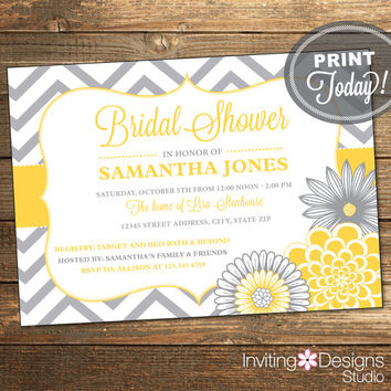 Printable Wedding Shower Invitation, Bridal Shower Invitation, Chevron, Floral, Yellow, Gray, Printable (Custom Order, INSTANT DOWNLOAD)