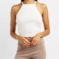 Ribbed Bib Neck Crop Top | Charlotte Russe
