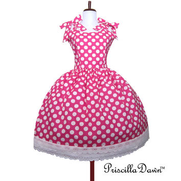 Sale Minnie Pink Dot Polkadot Rockabilly Dress Dots Prom Mad Men Inspired Pin up Bow White dots on Pink