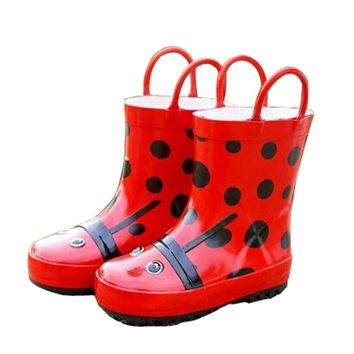 Cute Starry Kids' Rain Boots Red Ladybird Children Rainy Days Shoes 16.5CM