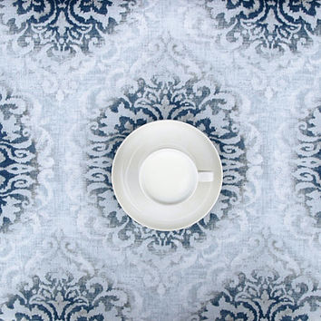 Tablecloth white grey blue abstract flowers Floral Scandinavian Design ,also napkins , runners , curtains available, great GIFT
