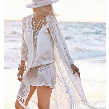 Summer Women Fringed White Cardigan Lace Tassel Beach Sunscreen Cover Up Long Sleeve Blouse