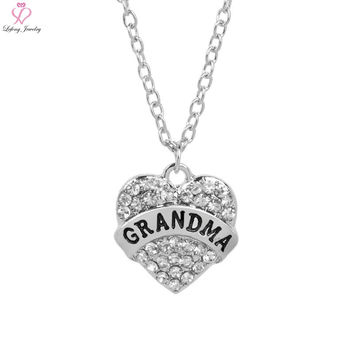 Lefeng Fashion Letter Grandma Mothers Day Gift Family Members Love Necklace Pave Crystal 3 Color For Women Trendy Jewelry Gifts
