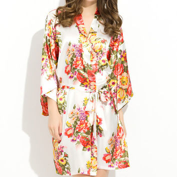 WHITE Floral  Satin Robe Bridesmaid Bride Robes Kimono