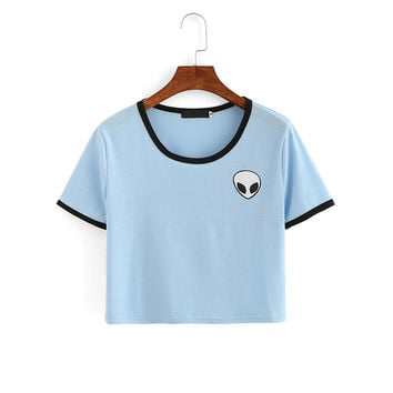 Women's Summer Fashion Kawaii Design Alien Print Short Sleeve Comfortable Female Light Blue Tee Crop Top T-Shirt
