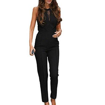 Women Jumpsuit Romper Black Sleeveless Lace Playsuit Club Cocktail Jumpsuit