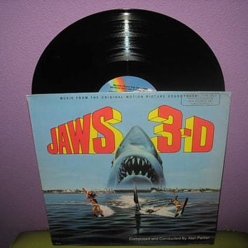 Vinyl Record Album Jaws 3D Original Soundtrack LP 1982 Horror Halloween Classic
