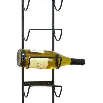 Iron wall mount wine bottle storage rack, Gray - Benzara