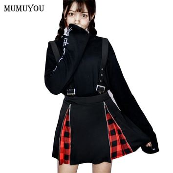 Women Suspender Skirt Black Harajuku Punk Style Zip Gothic Chic A-Line Mini Skirts Grid New Knee Length Spring Fashion 906-328