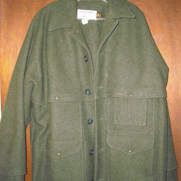 Mens Vintage Filson Double Mackinaw Cruiser 46 Forest Green Heavy Wool Jacket Coat