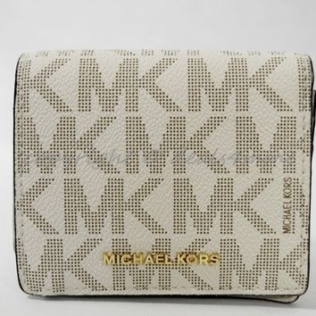 NWT Michael Kors Jet Set Travel Carryall Card Case in Signature Vanilla