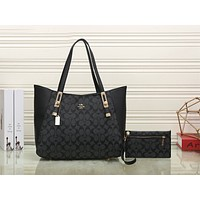 Coach Trending Women Stylish Leather Shoulder Bag Satchel Tote Handbag Purse Wallet Two Piece Set Black I-KSPJ-BBDL
