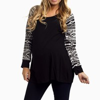 Black-Tribal-Sleeve-Maternity-Top